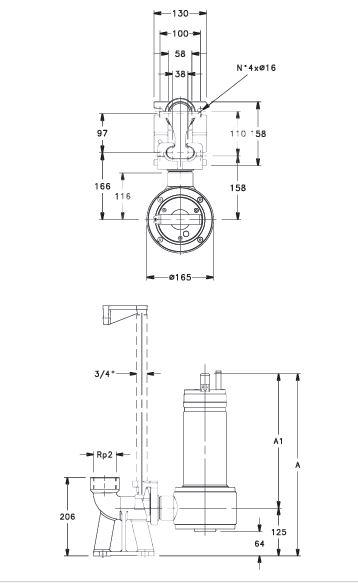 lowara submersible pump for dewatering and sewage grinder DOMO GRI